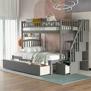 euroco, solid, wood, twin, over, full, bunk, bed, with, storage, drawers, , u0026, stairway, gray