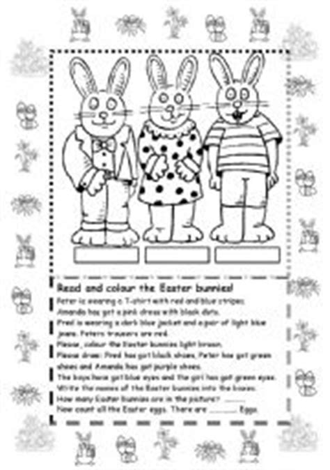 colour the easter bunnies esl worksheet by marylin