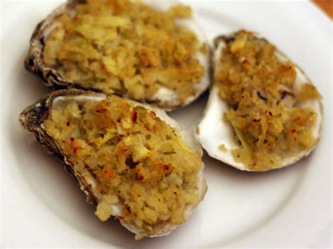 Dinner Tonight: Alton Brown's Baked Oysters with Artichoke and Panko Crumbs Recipe   Serious Eats