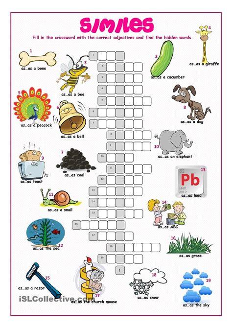 simile crossword puzzle literature grade  literary