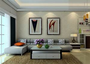 Elegant sofas and wall decoration 3D house, Free 3D