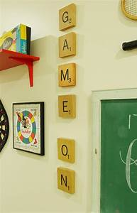 game room gallery wall less than perfect life of bliss With scrabble letter tiles hobby lobby
