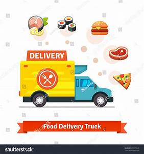 Restaurant Food Delivery Truck Meal Icons Stock ...