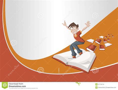 cartoon boy flying  big book stock images image
