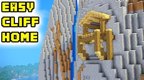minecraft mountain cliff house tutorial   build ideas youtube