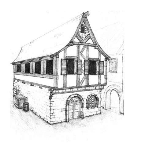Fachwerk Haus Mittelalter Skizze Architecture Drawing