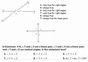 In The Diagram Which Angle Is Part Of A Linear Pair And