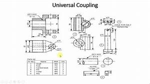 Detailed Part Drawing And Assembly Of Universal Coupling Using Autocad 2010
