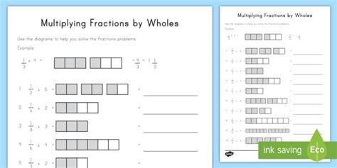 multiplying fractions by wholes with visual support worksheet