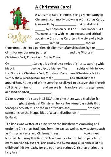 a christmas carol cloze activity activities and language