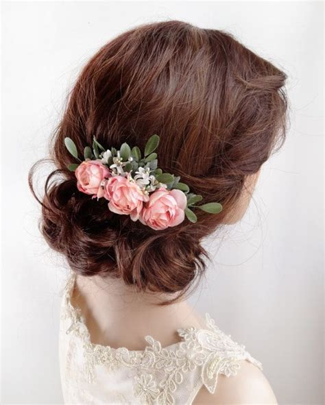 bridal hair comb pink rose hair clip floral hair