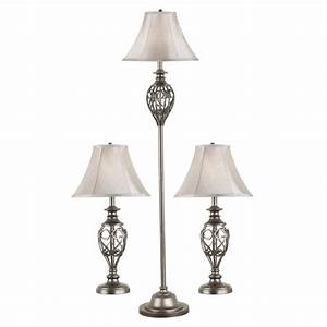 Shop kenroy home cerise 3 piece standard lamp set with for Lowes floor lamp set