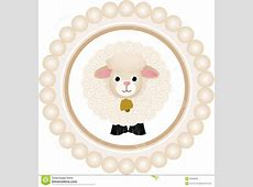 Cute Sheep Round Label stock vector Illustration of frame