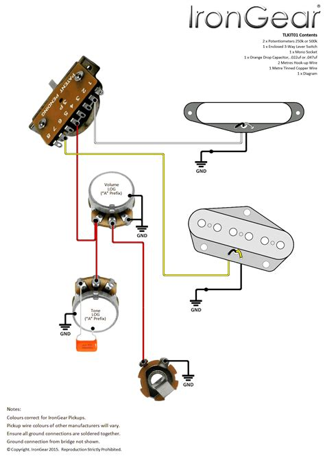 Guitar Wiring Kits Axetec For Tele