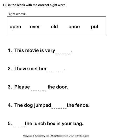 identify  correct sight word   sentence