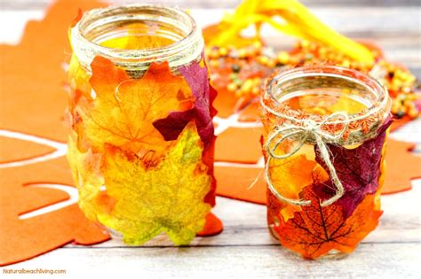 fall leaf candle mason jar crafts natural