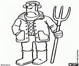 Shaun Pitchfork Farmer Sheep Coloring Pages Printable Oncoloring sketch template