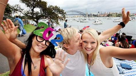mrs macquaries chair nye revellers celebrate new year s around sydney harbour