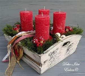 Deko Für Adventskranz : adventskranz weihnachtsgesteck landhaus rot wei von deko idee eolion auf ~ Buech-reservation.com Haus und Dekorationen