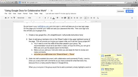 using google docs for collaborative work youtube