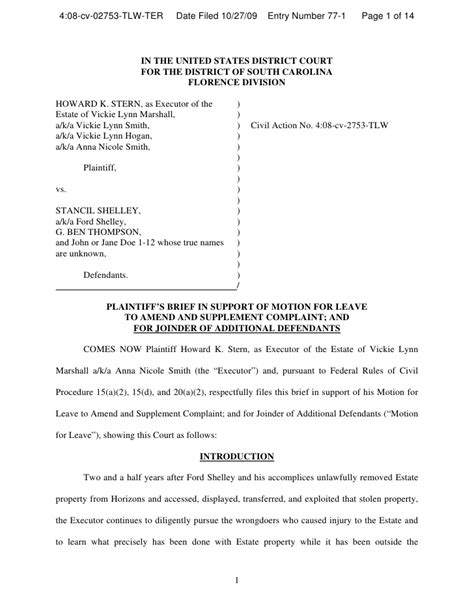 Trial Brief Pages Template California by Memo In Support Of Motion To Amend And Add Defendants