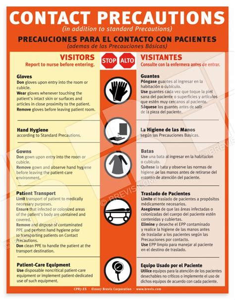 Contact Precautions Sign English And Spanish Brevis