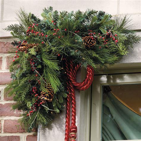 set of two pre lit estate corner christmas swags