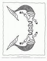 Coloring Merman Pages Clipart Line Library sketch template