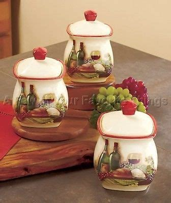 Grape Canister Sets Kitchen by 3 Vineyard Canister Set Wine Bottle Glass Grape Tuscan