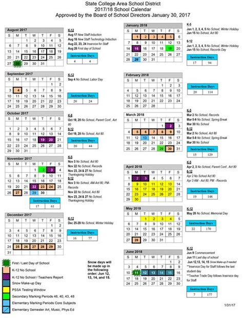 psu academic calendar calendars