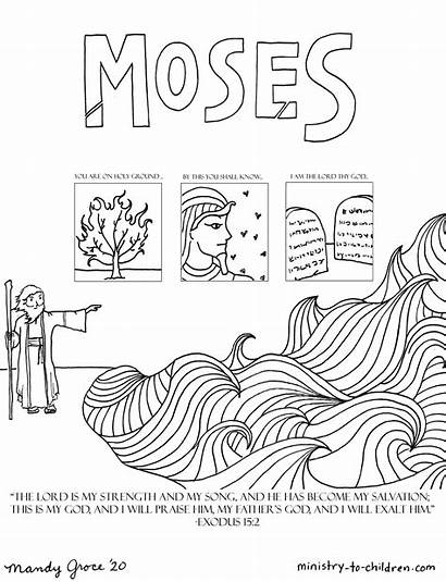 Moses Coloring Bible Children Printable Sunday Ministry