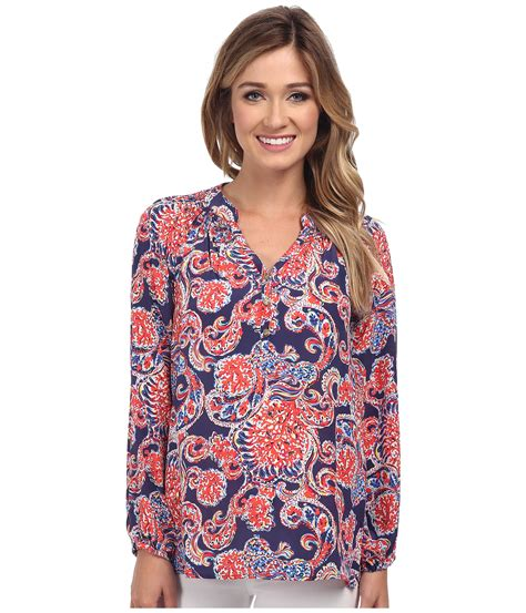 lilly pulitzer blouse lilly pulitzer printed elsa top in blue lyst