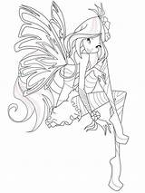Winx Pages Flora Coloring Club Crew Cut Template Printable sketch template