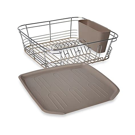 dish drainer small buy omni small chrome dipped dish drainer in chagne from bed bath beyond