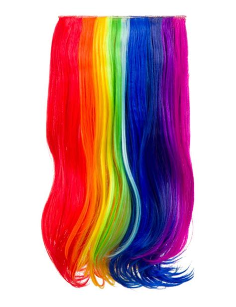 Ladies Party Rainbow Multicolour Long Wavy Synthetic Clip