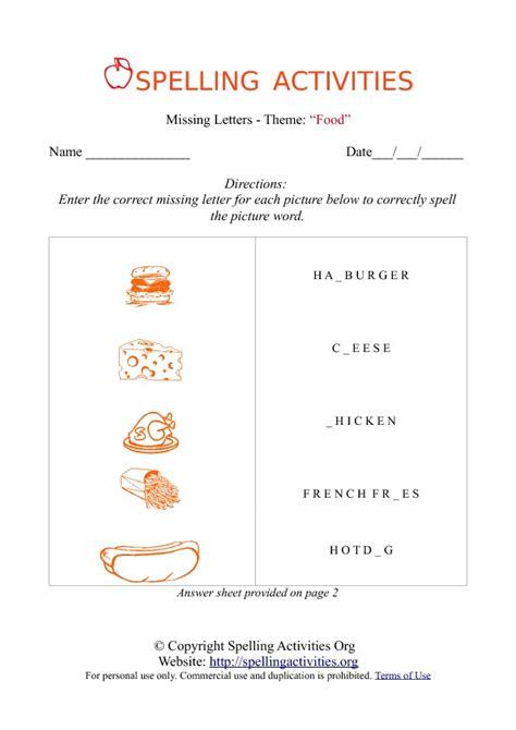 missing letters spelling worksheet  food names