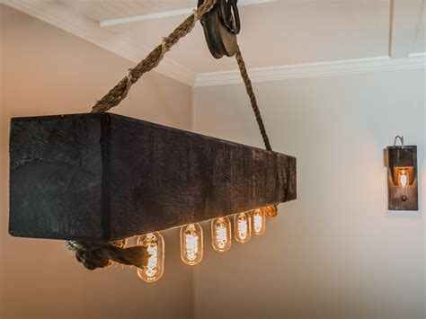 rustic cabin rustic wood beam chandelier with edison bulbs and pulley