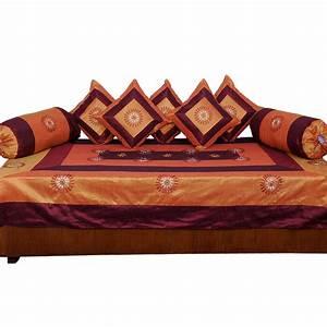 Buy Little India 8 Piece Diwan Set - Brown & Golden Online
