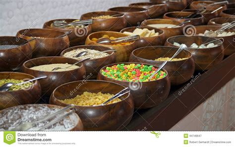 buffet bar cuisine cereals and corn flakes on a breakfast buffet stock image