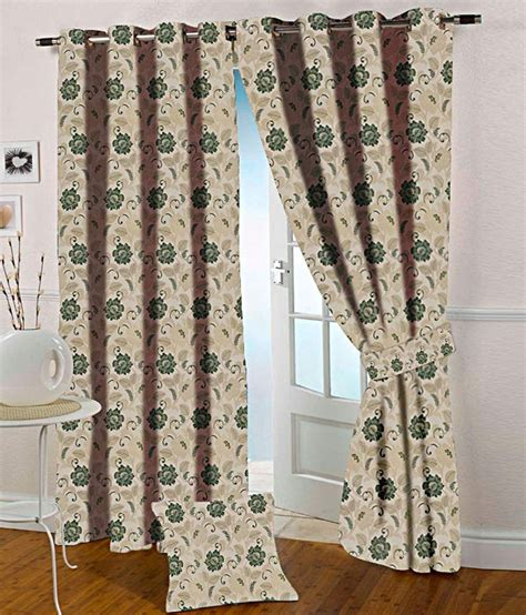 presto green and beige floral polyester window curtain