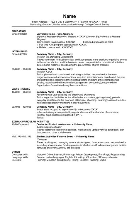 Typical Cv Template by Cv Template Us Resume Resume Template Resume
