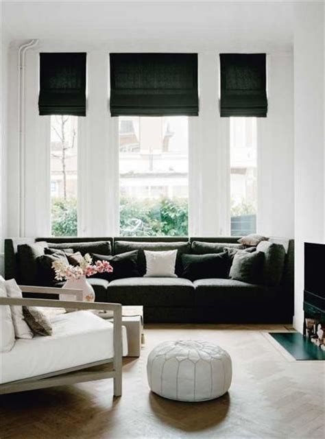 black and white l shades black upholstered sofa with white walls and black roman