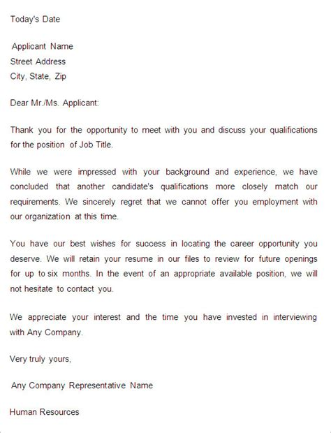 rejection letters template hr templates