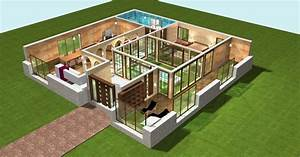 Créer Son Propre Plan De Maison Gratuit : plan maison plain pied 4 chambres 3d rn73 jornalagora ~ Premium-room.com Idées de Décoration