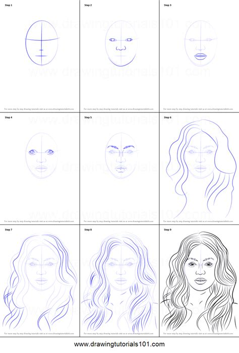 draw beyonce knowles printable step  step drawing