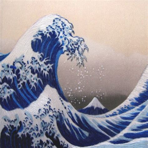 king silk art  handmade embroidery  great wave