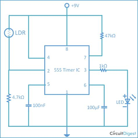 Simple Ldr Circuit Diagram For Darkness Detecting Led