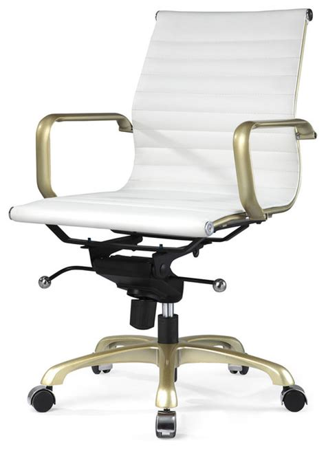 m344 eames style office chair white and gold modern