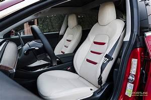 Cream Leather Seat Upgrade - Red Leather Insignia - T Sportline - Tesla Model S, 3, X & Y ...