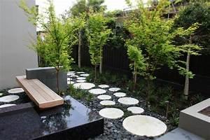 decoration jardin avec graminees dornementarbres et pierres With idee deco jardin avec cailloux 17 fontaine murale exterieure pour jardin terrasse et piscine
